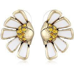 "Betsey Johnson ""Flower Child"" Half Daisy Stud Earrings ($30) ❤ liked on Polyvore"