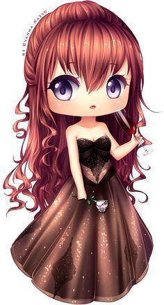 Anime girl chibi princess ○'ω'○ Dibujos Anime Chibi, Cute Anime Chibi, Kawaii Chibi, Kawaii Cute, Kawaii Girl, Kawaii Anime, Manga Girl, Manga Anime, Anime Hair