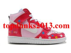 finest selection 7d8f8 48d77 Low Price Hello Kitty Colourful Flower Red Pink Nike Dunk High Top Women Up  To 52%