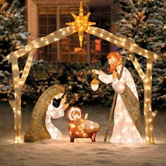 ring the Fascinating Christmas Story to Your Front Yard with this Glittering Tinsel Nativity Set of 3  This Nativity Set will create a central Point of Excitement and Wonder around your Yard. The graceful Glittering Set of Mary Baby Jesus and Joseph of is  beautifully crafted of sisal and tinsel fabric over a metal frame to catch the light during the day. At night, clear incandescent lights will create a sense of wonder while being illuminated and lighting up your space
