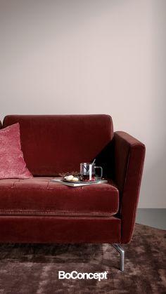 Boconcept Sofa, Interior Design Nz, Green Velvet Sofa, Red Velvet, Danish Sofa, Mirrored Nightstand, Compact Living, Design Your Home