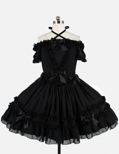 Black Short Sleeves Lolita Dress With Ruffles And Bows