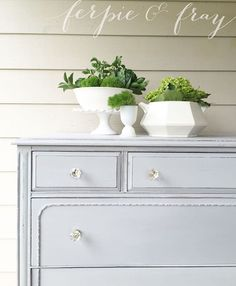 Painted dresser by Amanda of Ferpie and Fray in Oyster Grey by Real Milk Paint… Painting Antique Furniture, Furniture Knobs, Furniture Projects, Furniture Makeover, Vintage Furniture, Furniture Decor, Painted Furniture, Chalk Paint Brands, Real Milk Paint