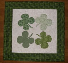 Shamrocks St. Patrick's Day Quilted Table Topper by HollysHutch