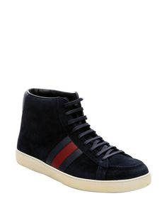 Gucci navy suede web stripe detail hi-top sneakers