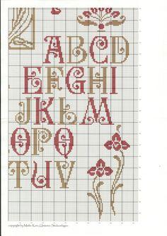 Art Nouveau Sampler by Unisono of Cross Stitch Boards, Cross Stitch Art, Cross Stitch Samplers, Cross Stitch Designs, Cross Stitching, Cross Stitch Embroidery, Monogram Cross Stitch, Cross Stitch Alphabet Patterns, Embroidery Alphabet