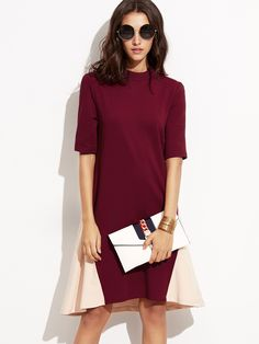 17$  Buy here - http://diuce.justgood.pw/go.php?t=7069 - Contrast Mock Neck Swing Dress 17$