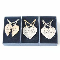 Симпатичные Два Клапанами Колющими Лучшие Суки Разбитое Сердце Подвески Ожерелье…