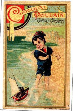 French Trade Card CHROMO Chocolat Poulain Hérold Enfant costume marin mer jeu jouet bateau voilier | by oldsailro