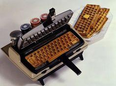 A typewriter-shaped waffle iron.