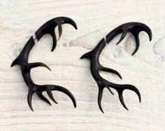 Antler Deer Fake Gauges Earrings Black Horn Tribal Earrings - Gauges Plugs Bone Horn - FG067 H G1