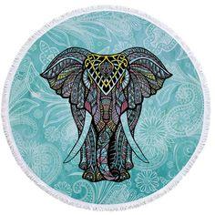 Indian Elephant Summer Large Microfiber Printed Round Beach Towels With Tassel Bohemia Bath Towels Shawl Mat Thick Mandalas Painting, Mandalas Drawing, Mini Canvas, Soft Towels, Bath Towels, Cotton Towels, Beach Blanket, Picnic Blanket, Indiana