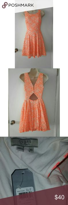 Guess Orange and White Lace Skater Dress NWT Size XS  New with Tag  Fit and Flare Cutout Back Colors: Orange and White Guess Dresses Mini