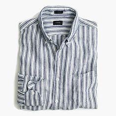 Slim délavé Irish linen shirt in navy ink stripe