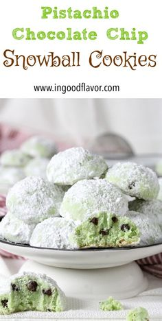 Buttery Pistachio Chocolate Chip Snowball Cookies are adorable and easy to make. They are great for cookie swaps and gift baskets. Add these to your holiday baking list this year. Pistachio Dessert, Pistachio Cookies, Holiday Baking, Christmas Baking, Macarons, Snowball Cookies, Grinch Cookies, Holiday Cookies, Cookie Recipes