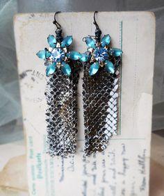 Metal Assemblage Earrings  Vintage Rhinestone by shipwreckdandy, $60.00