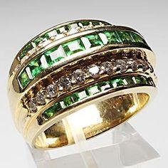 Estate Natural Demantoid Garnet & Diamond Wide Band Cocktail Ring Solid 14K Gold | eBay