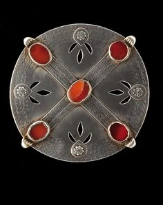 Turkmenistan | Pectoral / button / collar pin ~ silver and carnelian | Ersari and Saryk | 19th century | 350€ ~ sold (June '08)