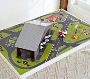 Airport Playmat - ideas for airport. - hangar for his small airplanes. :) detach - blocks screwed to board, hangar fits over blocks to keep it from shifting during play? Airplane Activities, Airplane Toys, Diy For Kids, Gifts For Kids, Airport Theme, Toy Barn, Small World Play, Play Table, Toy Rooms