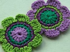 NEW Crochet Applique for Embellishment - Purple and Lime. $3.20, via Etsy.