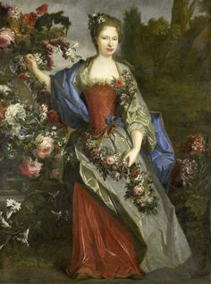 Portrait of a woman, according to tradition, Marie-Louise Elisabeth d'Orleans, duchesse de Berry, as Flora. 1690 - 1740 Painted originally by Nicolas de Largillière Ludwig Xiv, European Costumes, French History, 18th Century Fashion, Louis Xiv, Elisabeth, Herzog, Wow Art, Art Reproductions