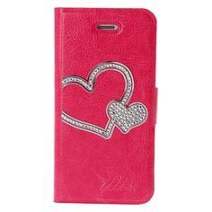 rose-carmine diy hjerte med rhinsten mønster læder tilfældet med indehaveren & kreditkort slots til iphone 5/5s – DKK kr. 68