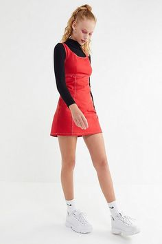 Slide View: 2: Urban Renewal Remnants Contrast Stitch Canvas Mini Dress Dress Outfits, Winter Outfits, Fashion Dresses, Cute Outfits, Urban Outfitters Clothes, Urban Dresses, Outerwear Women, What To Wear, Fitness Models