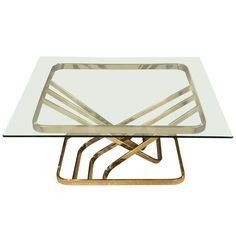 Stylish Brass and Glass Coffee Table | 1stdibs.com