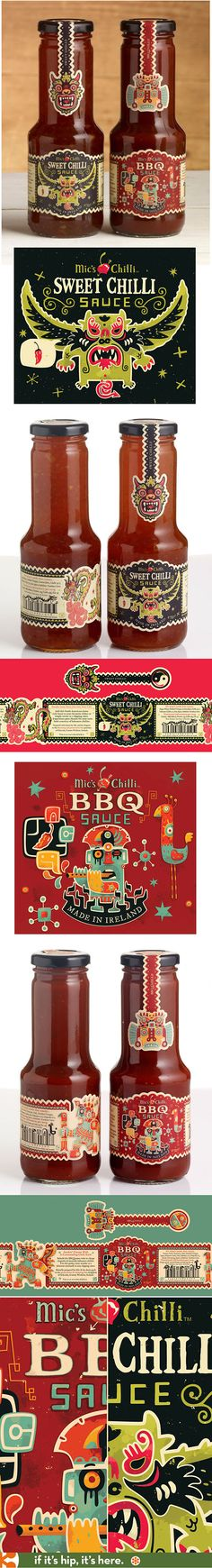 Beautifully illustrated labels by Steve Simpson for Mic's Sweet Chilli Sauce and BBQ sauce.
