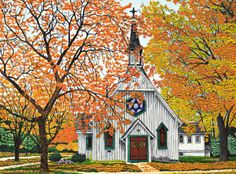 autumn ~ Country Church, Western NY by Thelma Winter