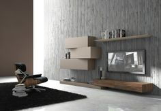 Sectional wall-mounted TV wall system InclinART - 263 by Presotto Industrie Mobili design Pierangelo Sciuto Tv Wall Design, House Design, Deco Tv, Tv Wall Decor, Wall Tv, Tv Furniture, Living Room Tv, Wall Mounted Tv, Living Room Designs
