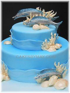 Indian Weddings Inspirations. Ocean, Underwater, Beach theme wedding cake. Repinned by #indianweddingsmag indianweddingsmag.com