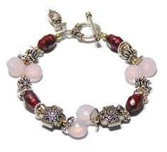 Summer Berries ... Pink Chalcedony Bracelet w/ Faceted Pearls by jQjewelrydesigns, $55.00