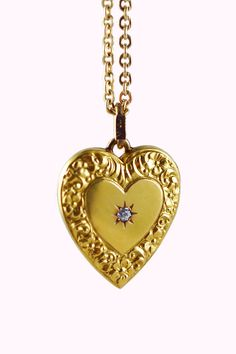 Antique 14k Repousse Heart Locket with Diamond