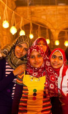 Egyptian girls, Mosque of Muhammad Ali, The Citadel, Old Cairo (Islamic Cairo), Cairo, Egypt