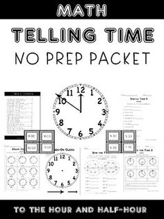 This packet include 30 pages of NO PREP activities on time to the hour and half hour. Activities include:-Draw the Time-Cut and Paste Time-Write the Time -Elapsed Time -Digital Time -Spin the Time -Before the Hour-After the Hour -Hands-On Clock-Time Center Cards***Each activity comes with 3 versions: 1 time to the hour, 1 time to the half hour, and 1 mixed*** Students can create their own hands on clock they can manipulate.