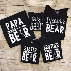 Bear Shirts for the Family - Grey-Now, the whole family can rock one of our adorable Bear shirts! Select from Mama Bear, Papa Bear, Sister Bear, Brother Bear & Baby bear! Baby Shower Oso, Baby Shower Shirts, Boy Baby Shower Themes, Baby Shirts, Kids Shirts, Onesies, Family Tees, Family Tshirt Ideas, Papa Baby
