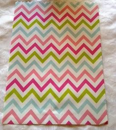 Pink chevron party bags - Party bags with chevron stripes of pink and pastel colours. Approx size - 23cm x 18cm. Sold in packs of 12 $ 10.95