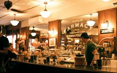 Soda fountains on pinterest soda fountain drug store for Old fashioned pharmacy soda fountain