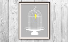 Birdcage Print - 8x10 Gray, White, & Yellow Bird cage art. $9.00, via Etsy.