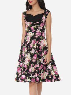 Assorted Colors Floral Printed Vintage Asymmetric Neckline Skater-dress