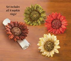 Floral Autumn Sunflower Napkin Rings - Set of 4