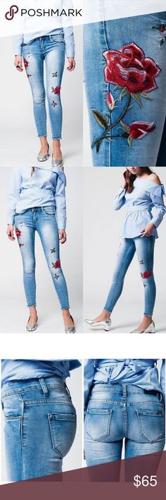Embroidered Skinny Ankle Jeans Roses Hummingbird Sorry, NO TRADES  Price firm unless bundled Jeans Skinny