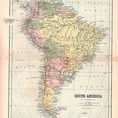 South America Geology   Etsy Surface Note, South America Map, Hd Photos, Geology, Large Prints, Vintage Prints, Artwork Prints, Fine Art Paper, Vintage World Maps
