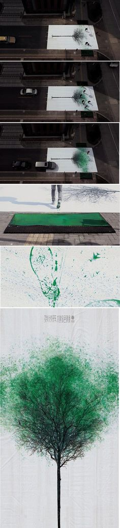 Funny pictures about Pedestrian Crossing in China Turns Footsteps Into Leaves. Oh, and cool pics about Pedestrian Crossing in China Turns Footsteps Into Leaves. Also, Pedestrian Crossing in China Turns Footsteps Into Leaves. Land Art, Passage Piéton, Graffiti Kunst, Pedestrian Crossing, Street Art, Street Trees, Urbane Kunst, Grafiti, Inspiration Art