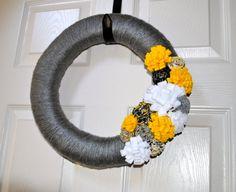 Handmade Grey and Yellow Yarn Wreath by MockingbirdsNest on Etsy, $35.00