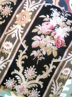 Antique French Napoleon III Black Floral Fabric