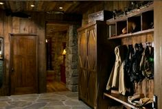 Log home mudroom, Big Timber, Montana. Love the tiny spot lights over the shelving (I need a warmer stain though. Cabin Homes, Log Homes, Rustic Entry, Country Entryway, Cottage Entryway, Rustic Barn, Rustic Style, Rustic Decor, Log Cabin Living