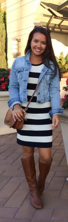 Weekend Outfit Striped dress, denim jacket, brown boots...this would be a perfect look for the OHSO event!