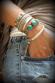 Boho Silver feather Turquoise bangle Bracelet